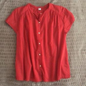 Old Navy shirred button-front summer blouse M red